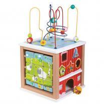 Lelin toys Дървен голям дидактически куб, Ферма