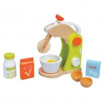 Lelin toys Дървен детски миксер, с продукти, зелен