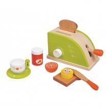 Lelin toys Детски дървен тостер, с продукти за закуска