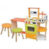 Lelin toys Детска дървена кухня, с трапезария