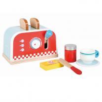 Lelin toys Детски дървен тостер, с комплект за закуска