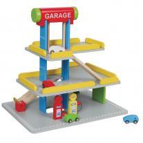 Lelin toys Дървен паркинг, с бензиностанция и автомивка