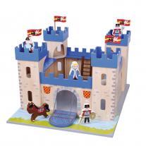Lelin toys Детски дървен замък, с войници и аксесоари