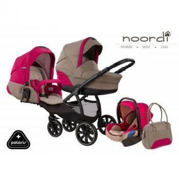 Noordi Polaris бебешка количка 3в1 650 сиво/розово