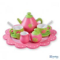 Andreu toys Дървен сервиз за чай, Цветя