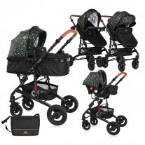 Lorelli Комбинирана количка ALBA SET с кош за новородено Black CIRCLES