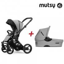 Mutsy Пакет Шаси Mutsy Evo Bold Black + Кош За Новородено И Седалка Mutsy Evo Bold Pebble Grey