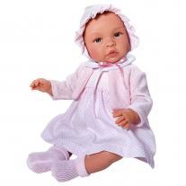 Asi dolls Кукла бебе, Лея, с рокля, плетена жилетка и шапка, 46 см