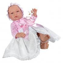 Asi dolls Кукла бебе, Мария с дълга бяло-розова рокличка, 43 см