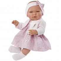 Asi dolls Кукла бебе, Мария с розова рокличка и плетена жилетка, 43 см